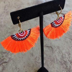Orange Sunset Embroidery Fan Tassel Earrings